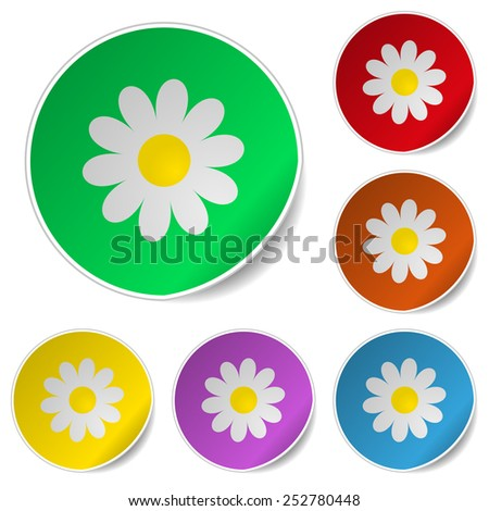Floral set of round glossy stickers with corner. Vector illustration - stock vector