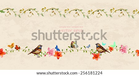 floral set seamless borders for your design. watercolor - stock vector