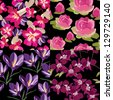 Floral set, seamless patterns, hand-drawing. Vector illustration. - stock photo