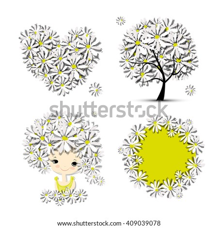 Floral set - tree, girl, heart, frame for your design - stock vector