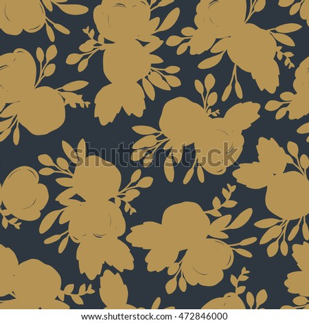 Floral silhouette pattern in gold and charcoal, vector seamless illustration