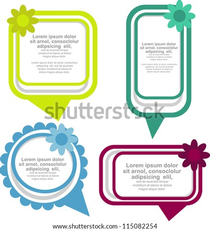 floral speech bubbles - stock vector