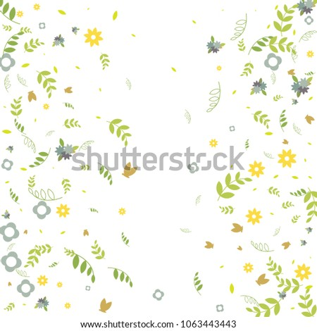 Floral Spring And Summer Vector Wallpaper With Tiny Flowers Leaves Butterflies Green Branches