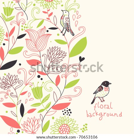 Floral spring background in stylish colors - stock vector