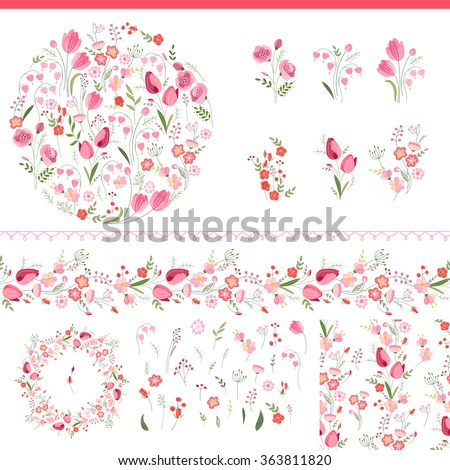 Floral spring elements with cute bunches of tulips and roses. Endless horizontal  pattern brush. For romantic and easter design, announcements, greeting cards, posters, advertisement. - stock vector