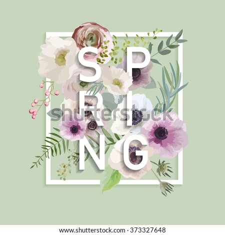 Floral Spring Graphic Design - with Anemone Flowers - for t-shirt, fashion, prints - in vector - stock vector