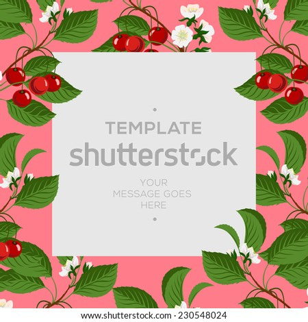 Floral spring template with cherry berries and cherry blossom branch, vector illustration.  - stock vector