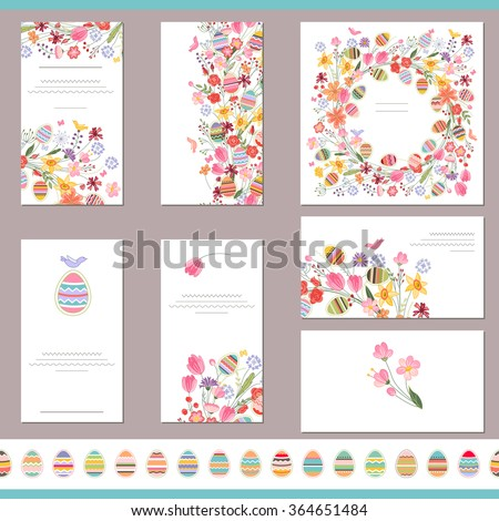 Floral spring templates with cute flowers and painted eggs. Endless horizontal pattern brush with eggs. For romantic and easter design, announcements, greeting cards, posters, advertisement. - stock vector