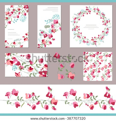 Floral spring templates with sweet peas. Decorative elements, endless pattern brush  and round frame. For romantic and summer design, announcements, greeting cards, posters, advertisement. - stock vector