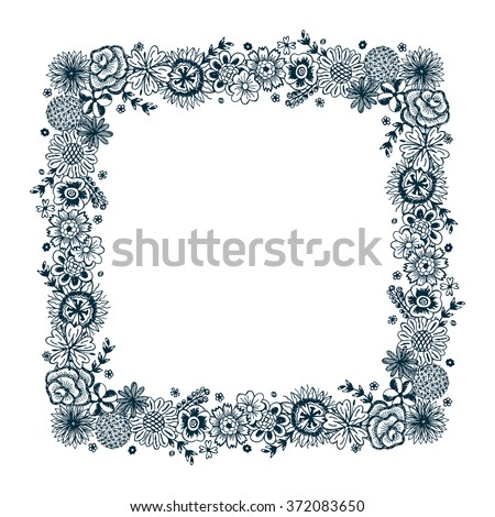 Floral square frame. Hand drawn doodle Flowers - stock vector