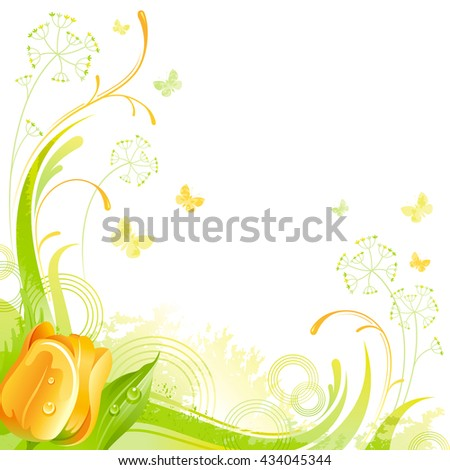 Floral summer background with yellow tulip flower, leafs, grass and grunge elements, copy space for your text