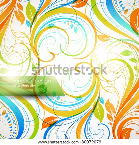 Floral summer design elements with sun shine. Flower abstract bright background for retro design. Vector. eps 10 - stock vector