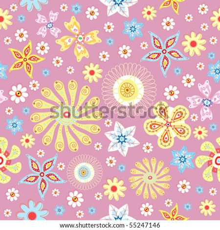 Floral summer seamless pattern