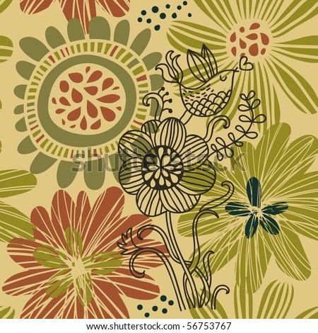 Floral summer seamless pattern - stock vector
