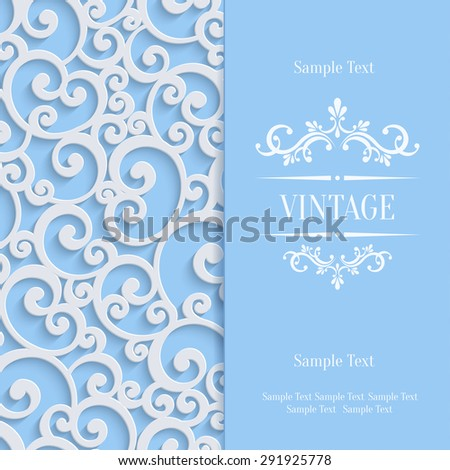 Floral Swirl Background with 3d Curl Damask Pattern for Wedding or Invitation Card. Vector Blue Vintage Design - stock vector