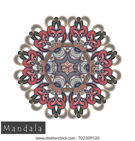 Floral symmetrical geometrical symbol. Vector flower mandala icon isolated on white. Oriental round colored pattern. Arabic, Indian, Moroccan, Spain, Turkish, Pakistan, Chinese decorative element.
