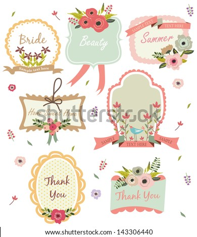 Floral tag - stock vector