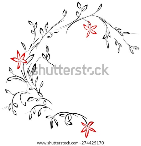 Floral tattoo design - stock vector