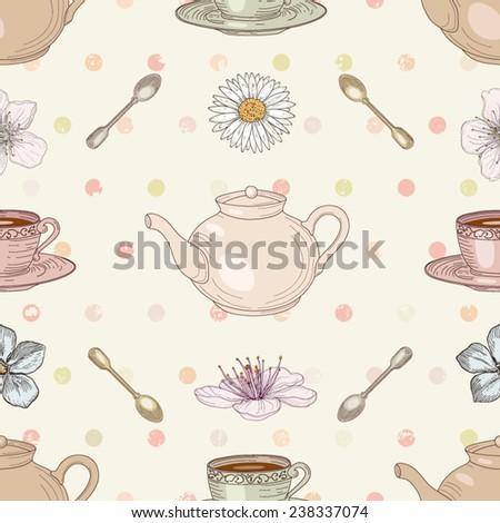 Floral tea cute seamless pattern - stock vector
