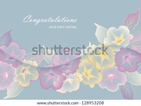Floral template border vector design. Beautiful elegant transparent flowers and leaves, 'Congratulations and best wishes' text and wave banner with shadow in soft delicate pastel colors - stock vector