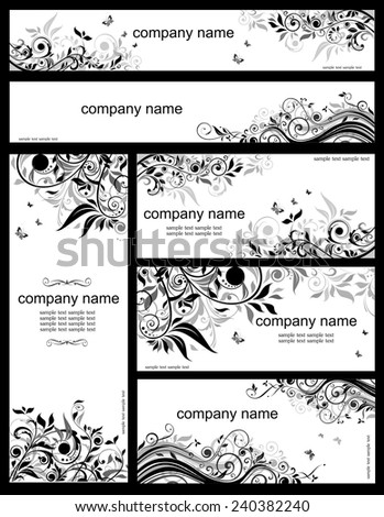Floral templates (black and whites) - stock vector