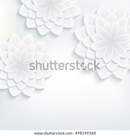 Floral trendy background with white and grey stylized 3d flowers chrysanthemum cutting paper. Beautiful stylish modern wallpaper. Greeting or invitation card for wedding, birthday. Vector illustration