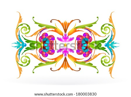 Floral triangle colourful Ornament on white background - stock vector