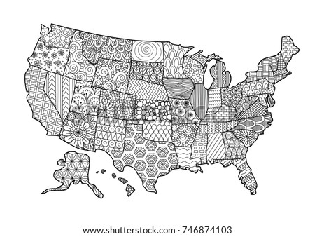 Floral USA Map Design Element Adult Stock Vector 746874103 ...