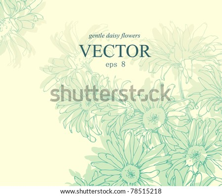 Floral vector background with hand drawn daisy flowers. - stock vector