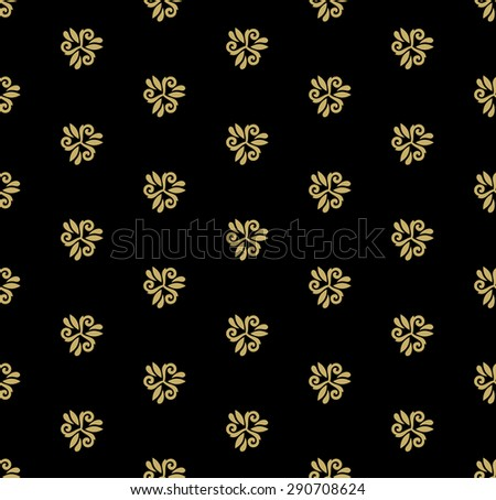 Floral vector black and golden pattern. Seamless abstract oriental texture - stock vector