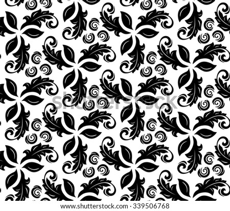 Floral vector black and white ornament. Seamless abstract background with fine pattern - stock vector