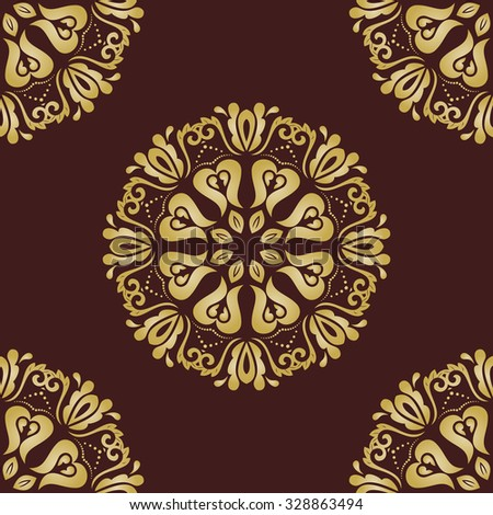 Floral vector brown and golden ornament. Seamless abstract pattern with fine pattern
