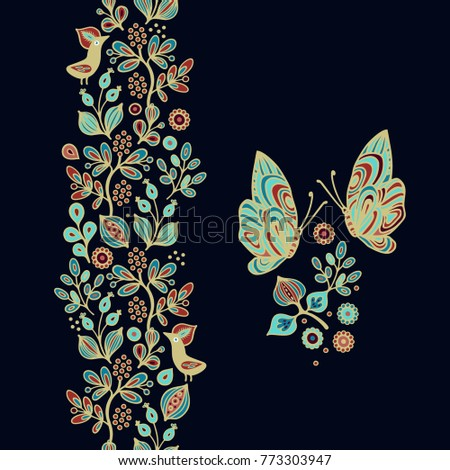 Floral vector composition with birds and butterfly on dark background