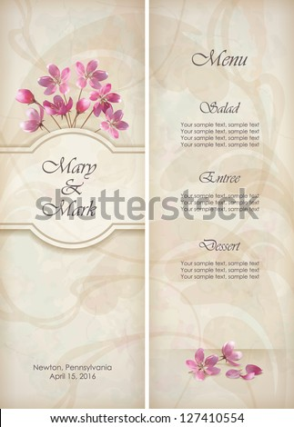 Floral vector decorative wedding menu invitation template design with beautiful realistic bouquet of pink flowers, abstract decorative wallpaper pattern on grunge textured background in vintage style - stock vector