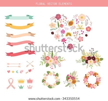 Floral vector elements clip art set - stock vector