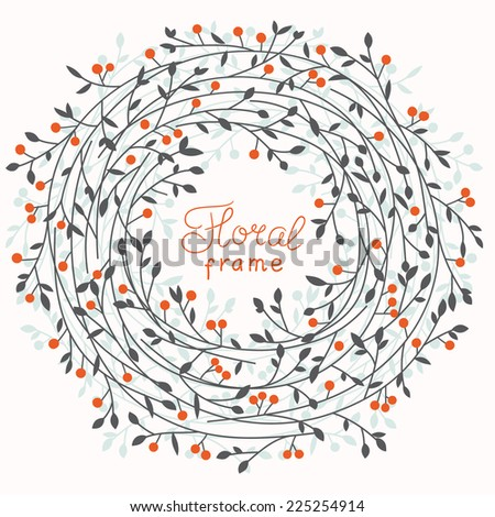 Floral vector frame - stock vector