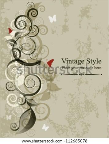 Floral vector illustration card on grunge background - stock vector