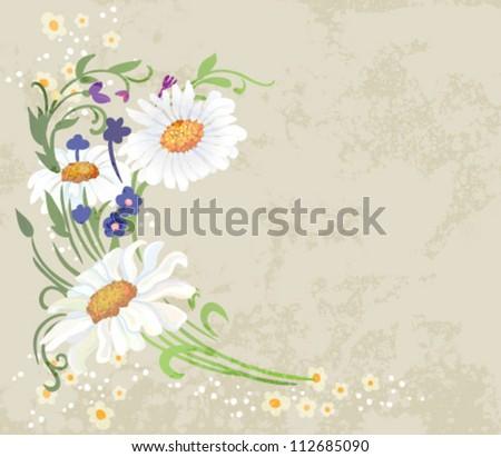 Floral vector illustration on grunge background - stock vector