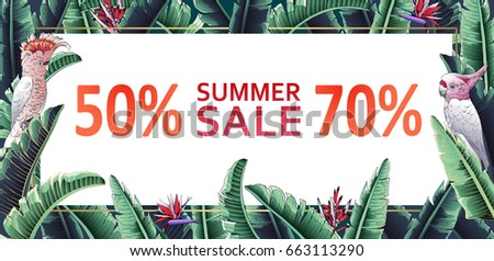 Floral vector illustration, tropical summer sale banner with jungle motif. A parrot with palm leaves.