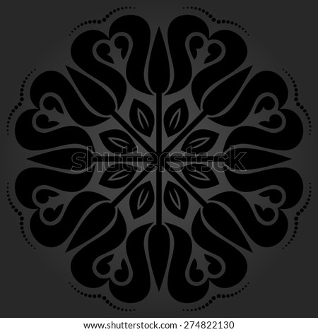 Floral vector oriental pattern with arabesque and floral dark elements. Abstract ornament for background - stock vector