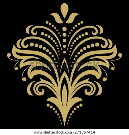 Floral vector oriental pattern with arabesque and floral elements. Abstract golden ornament for background. - stock vector