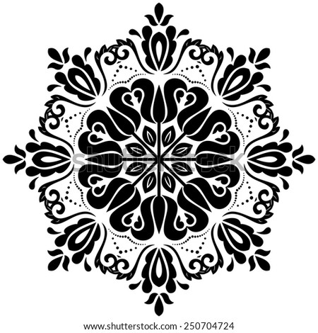 Floral vector oriental pattern with arabesque and floral elements. Abstract ornament for background. Black and white colors - stock vector