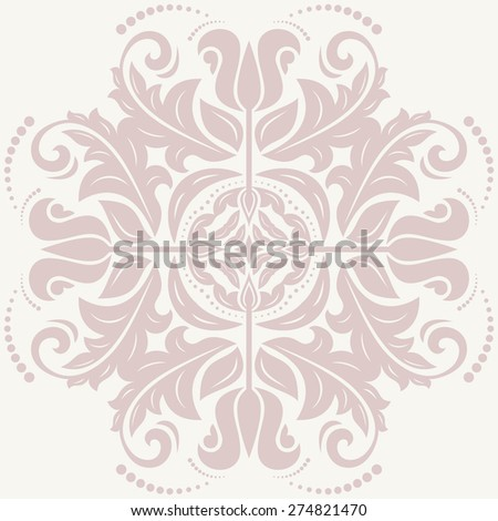 Floral vector oriental pattern with arabesque and floral elements. Abstract ornament for background - stock vector