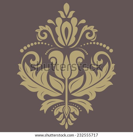 Floral vector oriental pattern with damask, arabesque and floral elements. Abstract golden ornament for background