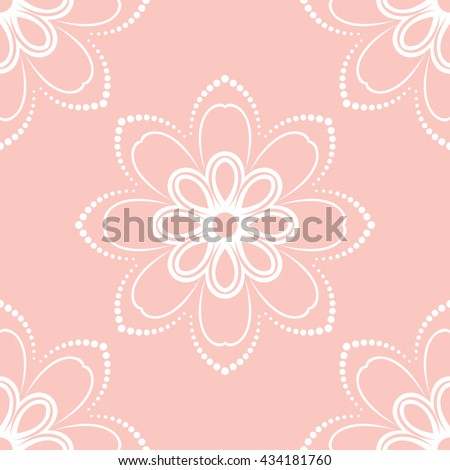 Floral vector ornament. Seamless abstract classic pattern with flowers. Pink and white pattern - stock vector