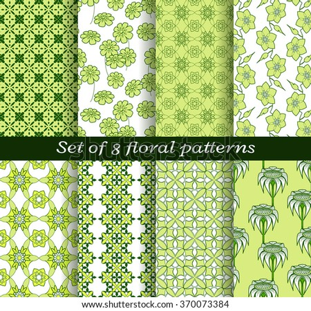 Floral vector patterns with geometric stylized leaves and flowers. Set of endless textures in white and green colors for wallpapers or background. Swatches of patterns included in the file. - stock vector