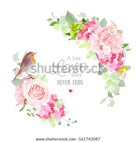 Floral vector round frame with pink rose, hydrangea, carnation flowers, mixed plants and cute small robin bird. Half moon shape bouquets. All elements are isolated and editable.