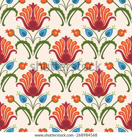 Floral vector seamless pattern. Bright red flowers on light background - stock vector