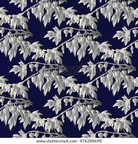 Floral vector seamless pattern wallpaper with abstract decorative white winter leaves on the dark blue background.