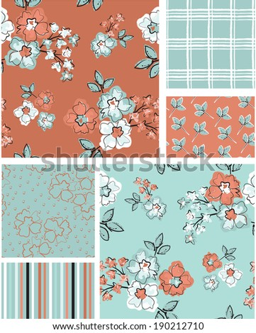 Floral vector seamless patterns. Use as fills to print onto fabric to create unique home furnishings. - stock vector